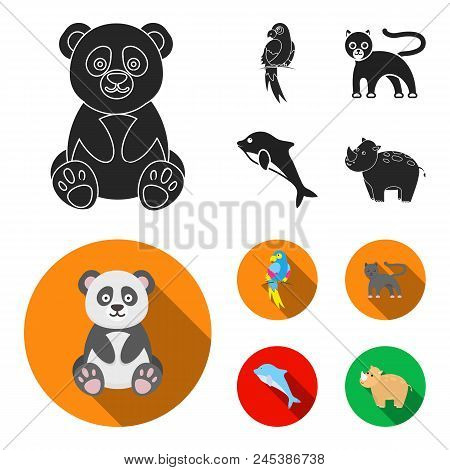 Panda.popugay, Panther, Dolphin.animal Set Collection Icons In Black, Flat Style Vector Symbol Stock