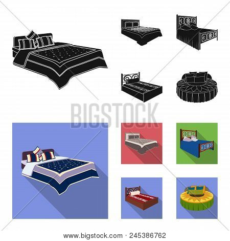 Different Beds Black, Flat Icons In Set Collection For Design. Furniture For Sleeping Vector Isometr