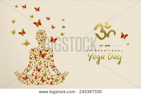 International Yoga Day Greeting Card For Special Event. Woman Meditating In Lotus Pose Made Of Gold