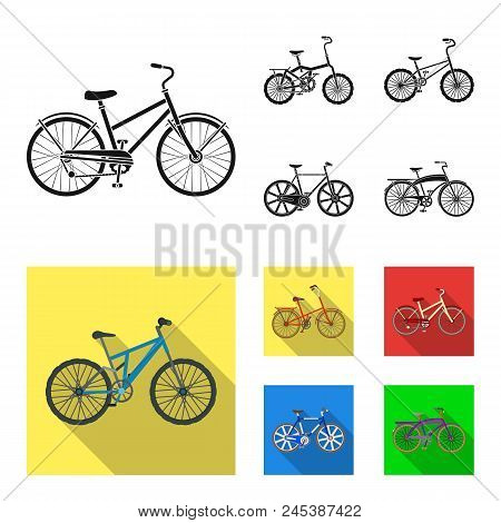 Children's Bicycle And Other Kinds.different Bicycles Set Collection Icons In Black, Flat Style Vect