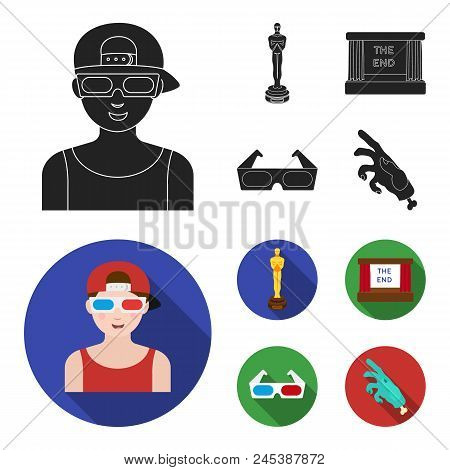 Award Oscar, Movie Screen, 3d Glasses. Films And Film Set Collection Icons In Black, Flat Style Vect
