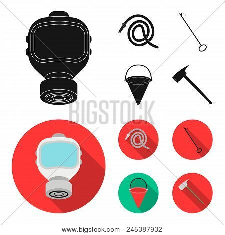 Gas Mask, Hose, Bucket, Bagore. Fire Department Set Collection Icons In Black, Flat Style Vector Sym