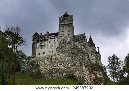 Bran Castle Known As Dracula Castle On A Rainy Day, Romania, Transylvania