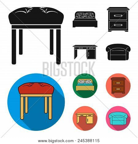 Interior, Design, Bed, Bedroom .furniture And Home Interiorset Collection Icons In Black, Flat Style