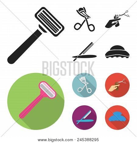 Scissors, Brush, Razor And Other Equipment. Hairdresser Set Collection Icons In Black, Flat Style Ve