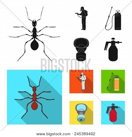 Ant, Staff In Overalls And Equipment Black, Flat Icons In Set Collection For Design. Pest Control Se