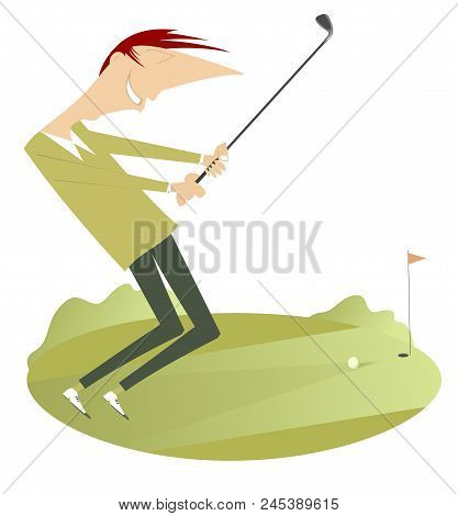 Smiling Golfer On The Golf Course Illustration Isolated. Smiling Golfer On The Golf Course Aiming To