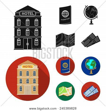 Vacation, Travel, Passport, Globe .rest And Travel Set Collection Icons In Black, Flat Style Vector