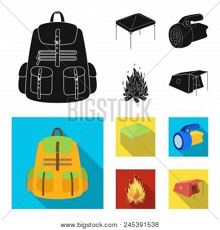 Awning, Fire And Other Tourist Equipment.tent Set Collection Icons In Black, Flat Style Vector Symbo
