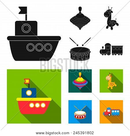 Ship, Yule, Giraffe, Drum.toys Set Collection Icons In Black, Flat Style Vector Symbol Stock Illustr