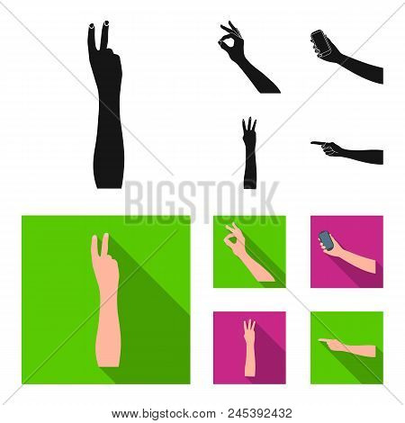 Sign Language Black, Flat Icons In Set Collection For Design.emotional Part Of Communication Vector