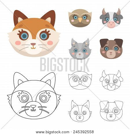 Owl, Cow, Wolf, Dog. Animal's Muzzle Set Collection Icons In Cartoon,outline Style Vector Symbol Sto