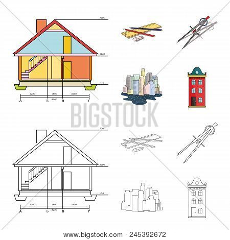 Drawing Accessories, Metropolis, House Model. Architecture Set Collection Icons In Cartoon, Outline