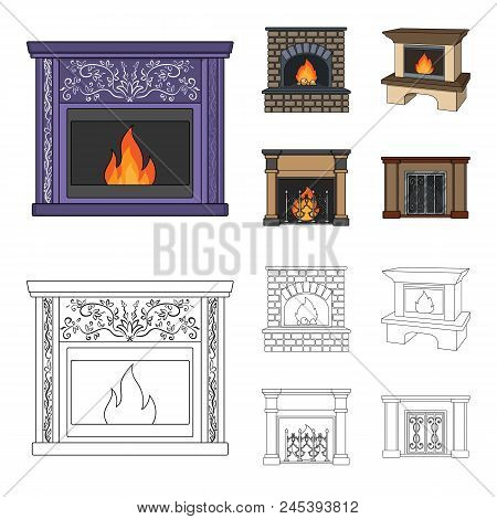 Fire, Warmth And Comfort.fireplace Set Collection Icons In Cartoon, Outline Style Vector Symbol Stoc
