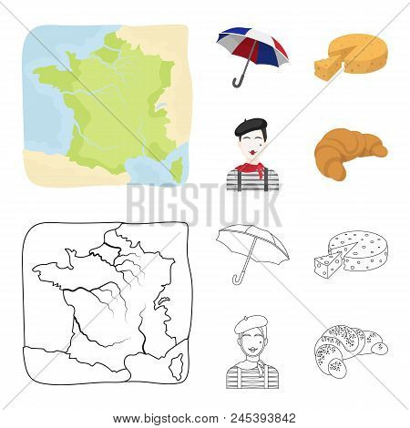 Umbrella, Traditional, Cheese, Mime .france Country Set Collection Icons In Cartoon, Outline Style V