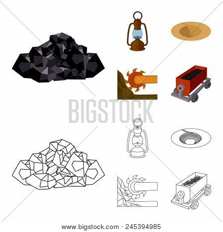 A Miner's Lamp, A Funnel, A Mining Combine, A Trolley With Ore.mining Industry Set Collection Icons