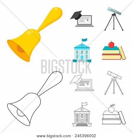School Bell, Computer, Telescope And School Building. School Set Collection Icons In Cartoon, Outlin