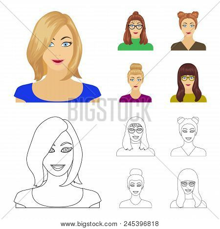 The face of a girl with glasses, a woman with a hairdo. Face and appearance set collection icons in cartoon, outline style vector symbol stock illustration . poster