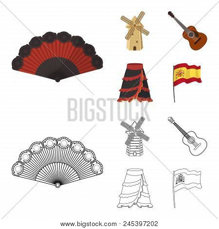 Fan Spanish, Mill, Guitar, Skirt For National Spanish Dances. Spain Country Set Collection Icons In
