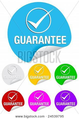 guarantee checkmark,round stickers
