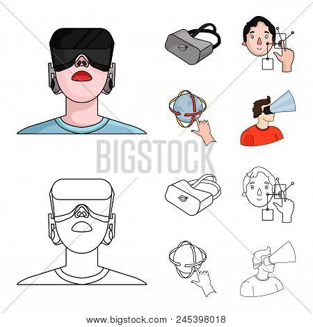 Innovation, Man, Head, Hand .virtual Reality Set Collection Icons In Cartoon, Outline Style Vector S