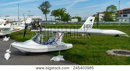 Berlin - April 27, 2018: Ultralight And Light-sport Amphibious Flying Boat Fly Synthesis Catalina Ng
