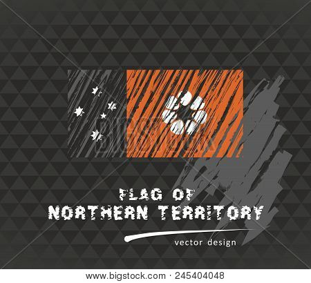 Northern Territory Flag, Vector Sketch Hand Drawn Illustration On Dark Grunge Background