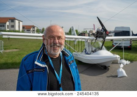 Berlin - April 27, 2018: Pilot And Owner Of Ultralight And Light-sport Amphibious Flying Boat Fly Sy
