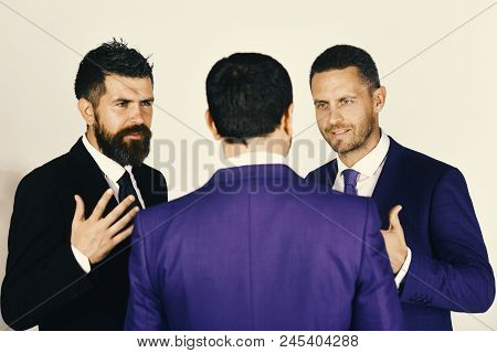 Career And Competition Concept. Men With Beard And Persuasive Faces Discuss Business. Ceos Have Disp