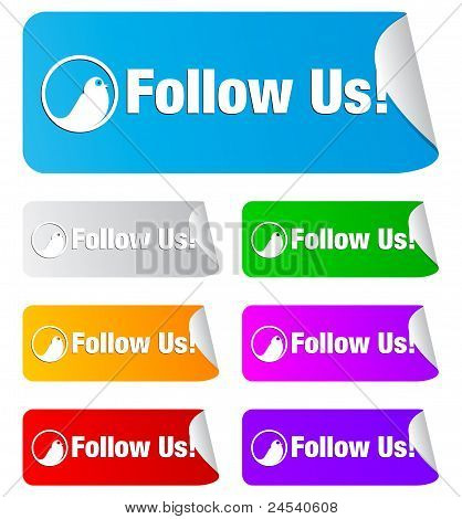 follow us,rectangular stickers