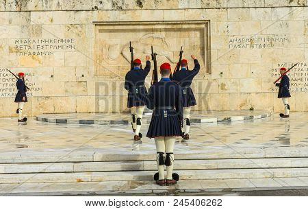Athens, Greece - March 5, 2018 Changing The Guard Tomb Of Unknown Soldiers Syntagma Square In Front