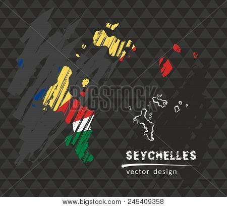 Seychelles National Vector Map With Sketch Chalk Flag. Sketch Chalk Hand Drawn Illustration