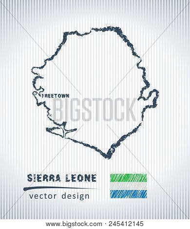 Sierra Leone National Vector Drawing Map On White Background