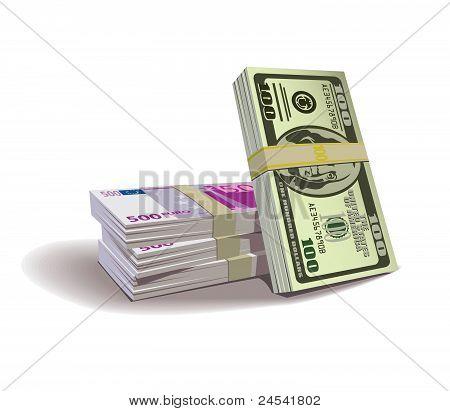 Dollar euro bills vector illustration