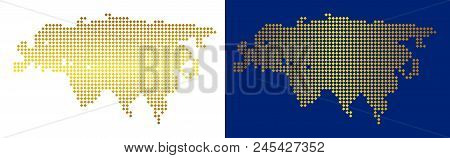 Gold dotted Eurasia map. Vector territorial maps in shiny colors with vertical and horizontal gradients. Abstract mosaic of Eurasia map constructed of rhombic pixels. poster