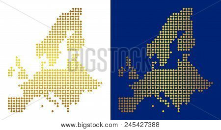 Golden Dot European Union Map. Vector Geographic Maps In Luxury Colors With Vertical And Horizontal