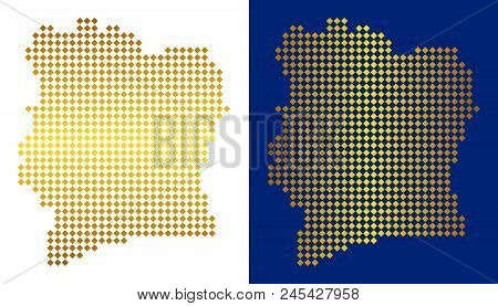 Gold Colored Rhombic Ivory Coast Map. Vector Geographical Maps In Luxury Colors With Vertical And Ho