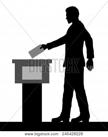Male voter silhouette by voting for election. All the silhouette objects and background are in different layers. poster