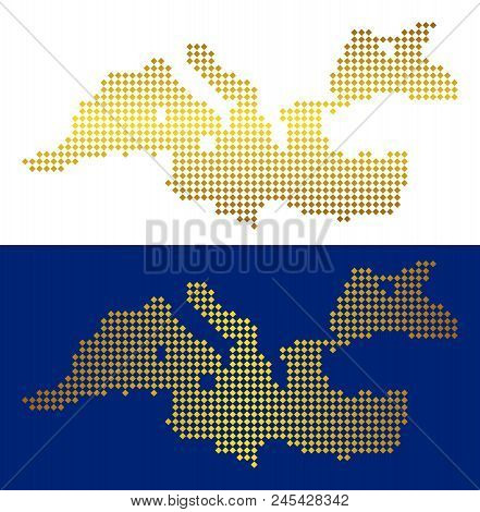 Gold Dotted Mediterranean Sea Map. Vector Territory Maps In Shine Colors With Vertical And Horizonta