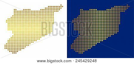 Gold Dot Syria Map. Vector Territory Maps In Bright Colors With Vertical And Horizontal Gradients. A