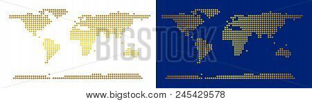 Gold Dotted World Continent Map. Vector Geographical Maps In Luxury Colors With Vertical And Horizon