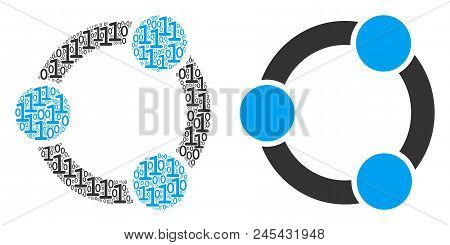 Cooperation Collage Icon Of Binary Digits In Various Sizes. Vector Digits Are Combined Into Cooperat