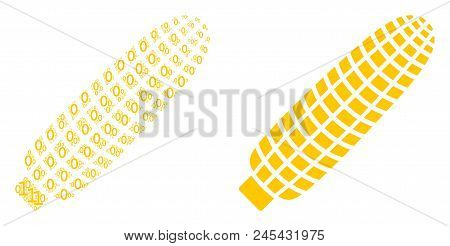 Corn Composition Icon Of Binary Digits In Different Sizes. Vector Digital Symbols Are Combined Into