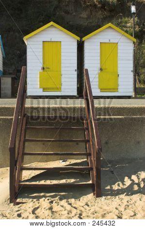 Yellow & White Beach Huts
