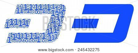 Dash Currency Mosaic Icon Of Binary Digits In Random Sizes. Vector Digital Symbols Are United Into D