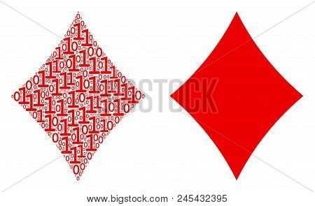 Diamonds Suit Mosaic Icon Of Zero And Null Digits In Randomized Sizes. Vector Digital Symbols Are Ra