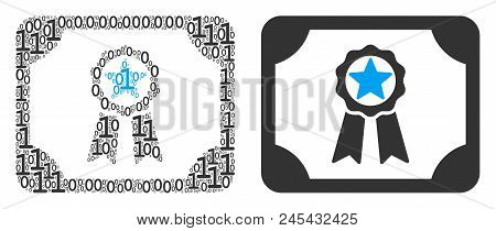 Diploma Collage Icon Of Binary Digits In Different Sizes. Vector Digit Symbols Are United Into Diplo