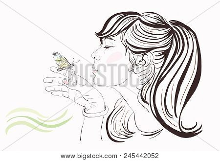 Beautiful Girl With Butterfly, Vector Hand-drawn Illustration. Copy Space. Line Art Young Woman Pict