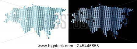 Honeycomb Europe And Asia Map. Vector Geographic Plan In Light Blue Color With Horizontal Gradient O