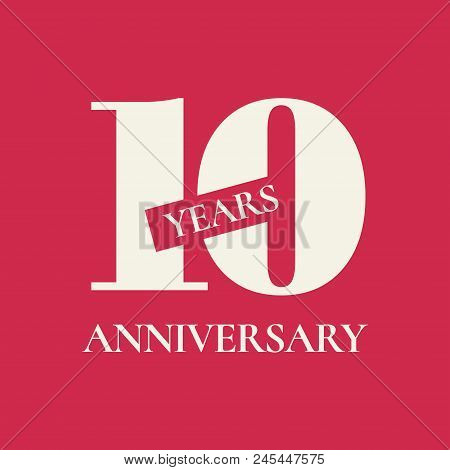10 Years Anniversary Vector Icon, Logo. Design Element With Red Color Background And Number For 10th
